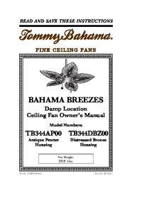 BAHAMA BREEZES Damp Location Ceiling Fan Owner's Manual