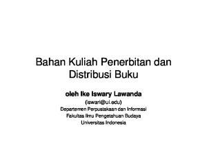 Bahan Kuliah Penerbitan dan Distribusi Buku