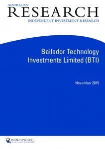 Bailador Technology Investments Limited (BTI)