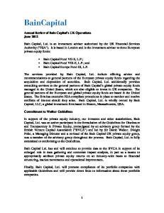 Bain Capital Fund VII-E, L.P.; Bain Capital Fund VIII-E, L.P.; and Bain Capital Europe Fund III, L.P