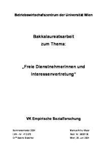 Bakkalaureatsarbeit zum Thema: Freie DienstnehmerInnen und Interessenvertretung