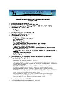 Balance del AIA-IYA2009 del 1 de enero al 1 de junio (1 junio 2009)