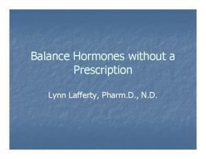 Balance Hormones without a Prescription. Lynn Lafferty, Pharm.D., N.D