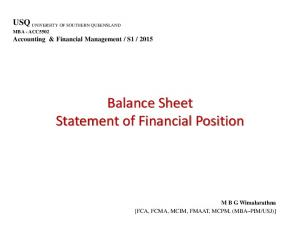 Balance Sheet Statement of Financial Position