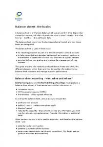 Balance sheets: the basics