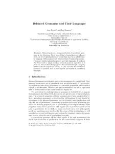 Balanced Grammars and Their Languages