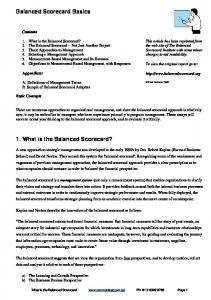 Balanced Scorecard Basics. 1. What is the Balanced Scorecard? Contents