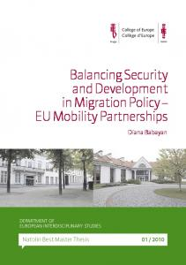 Balancing Security and Development in Migration Policy EU Mobility Partnerships