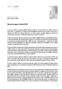 Balanza de pagos en febrero 2013