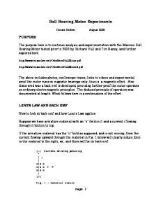 Ball Bearing Motor Experiments