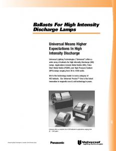 Ballasts For High Intensity Discharge Lamps