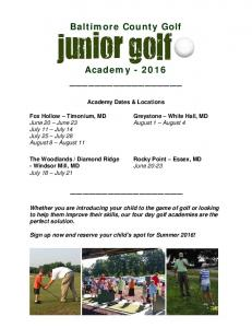 Baltimore County Golf. Academy