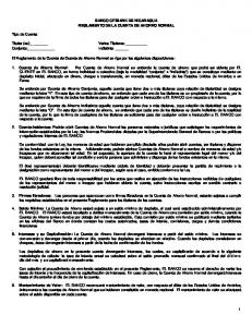 BANCO CITIBANK DE NICARAGUA REGLAMENTO DE LA CUENTA DE AHORRO NORMAL