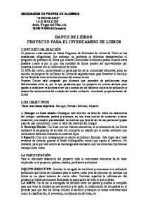 BANCO DE LIBROS. PROYECTO PARA EL INTERCAMBIO DE LIBROS