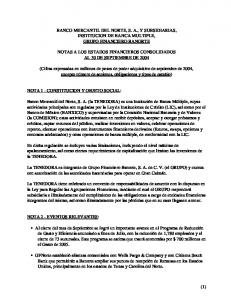 BANCO MERCANTIL DEL NORTE, S. A., Y SUBSIDIARIAS, INSTITUCION DE BANCA MULTIPLE, GRUPO FINANCIERO BANORTE