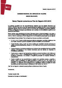 Banco Popular comunica su Plan de Negocio