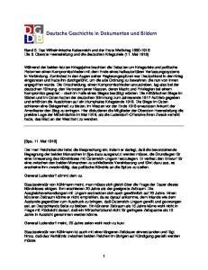 Band 5. Das Wilhelminische Kaiserreich und der Erste Weltkrieg Die 3. Oberste Heeresleitung und die deutschen Kriegsziele (11