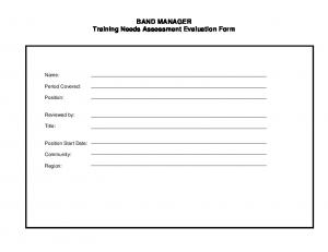 BAND MANAGER Training Needs Assessment Evaluation Form