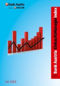 Bank Austria EinkaufsManagerIndex BANK AUSTRIA ECONOMICS & MARKET ANALYSIS AUSTRIA