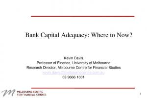 Bank Capital Adequacy: Where to Now?