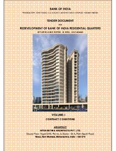 BANK OF INDIA TENDER DOCUMENT REDEVELOPMENT OF BANK OF INDIA RESIDENTIAL QUARTERS