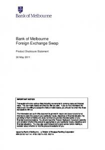Bank of Melbourne Foreign Exchange Swap