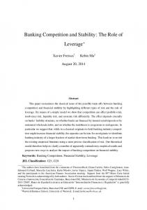 Banking Competition and Stability: The Role of Leverage *