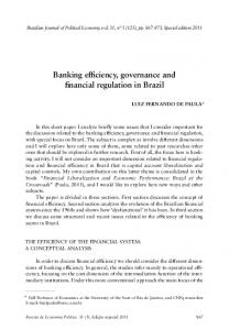Banking efficiency, governance and financial regulation in Brazil