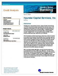 Banking. Hyundai Capital Services, Inc. Korea. Credit Analysis. Moody s Global. Overview. March Table of Contents: Analyst Contacts: