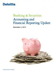Banking & Securities Accounting and Financial Reporting Update