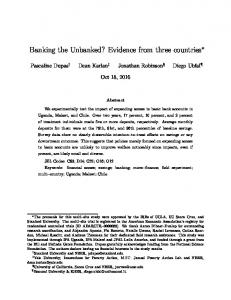 Banking the Unbanked? Evidence from three countries