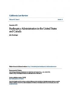 Bankruptcy Administration in the United States and Canada