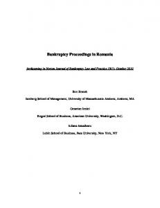 Bankruptcy Proceedings in Romania
