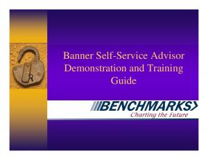 Banner Self-Service Advisor Demonstration and Training Guide