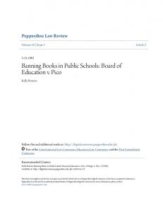 Banning Books in Public Schools: Board of Education v. Pico