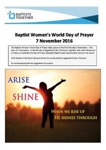 Baptist Women s World Day of Prayer 7 November 2016
