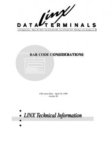 BAR CODE CONSIDERATIONS