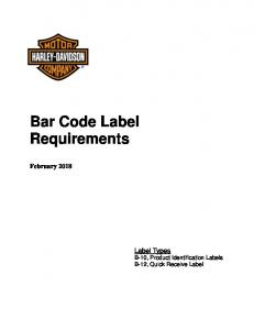 Bar Code Label Requirements February 2018