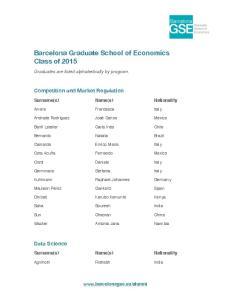 Barcelona Graduate School of Economics Class of 2015