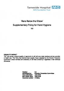 Bare Below the Elbow Supplementary Policy for Hand Hygiene