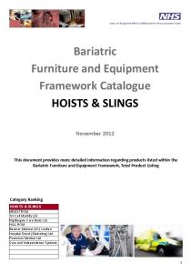 Bariatric Furniture and Equipment Framework Catalogue HOISTS & SLINGS