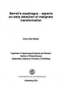 Barrett s esophagus aspects on early detection of malignant transformation