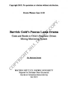 Barrick Gold s Pascua Lama Drama