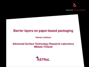 Barrier layers on paper-based packaging