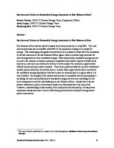 Barriers and Drivers to Renewable Energy Investment in Sub-Saharan Africa *