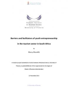 Barriers and facilitators of youth entrepreneurship. in the tourism sector in South Africa