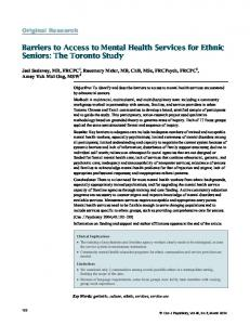 Barriers to Access to Mental Health Services for Ethnic Seniors: The Toronto Study