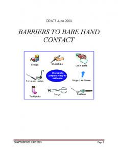 BARRIERS TO BARE HAND CONTACT