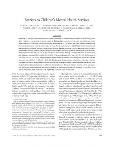 Barriers to Children s Mental Health Services