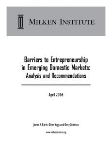 Barriers to Entrepreneurship in Emerging Domestic Markets: Analysis and Recommendations
